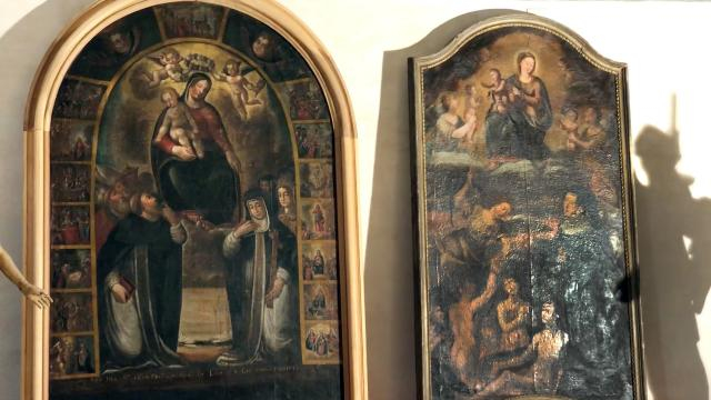 Due delle pale d'altare rubate in chiese pericolanti in zona l'Aquila dopo il sisma del 2009