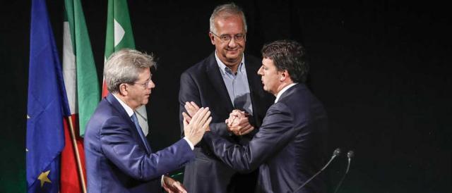 Paolo Gentiloni, Walter Veltroni e Matteo Renzi