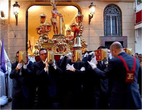 "Processions magnificent floats or ""Pasos,"" bear sculptures relating to various gospel scenes of the Passion of Christ [Image Anne Sewell]"