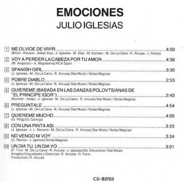 Contraportada del CD del disco Emociones donde se puede ver el nombre de Mimi Korman en los créditos (Bobadilla Law Firm)