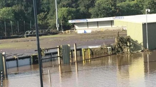 Institute's ground after the floods ravaged it