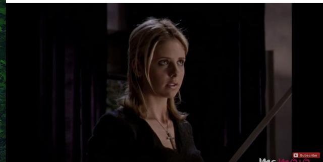 Buffy, our female protagonist, stares down the love of her life, Angel, in one of the most heartbreaking episodes. [Image via MsMojo/YouTube]
