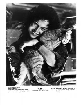 This is female space hero, Ellen Ripley with Jones the cat from the film 'Alien.' [Image via Slagheap/Flickr.com]