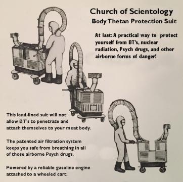 El traje de la Iglesia de la Cienciología para proteger el cuerpo de Thetan según una sátira de Satisfixation (Satisfixation)
