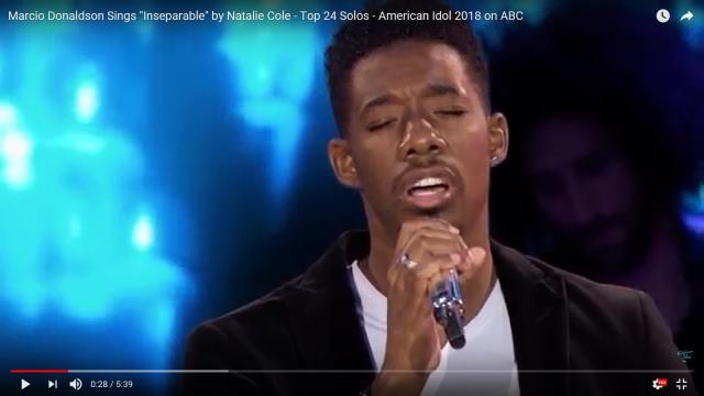 Marcio Donaldson gave a sensational rendition of 'Inseparable' in the final dozen of the solos on 'American Idol' 2018 Screencap AmericanIdol/YT