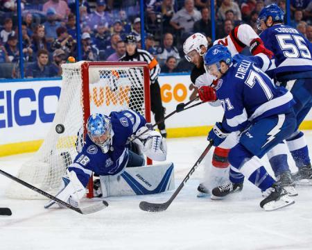 Vasilevskiy tuvo una buena actuación con 24 salvamentos. NHL.com.