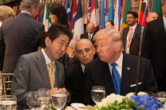 President Donald J. Trump and Prime Minister Shinzō Abe at the U.N. General Assembly 2017. - [Image credit - Shealah Craighead Wikimedia Commons]