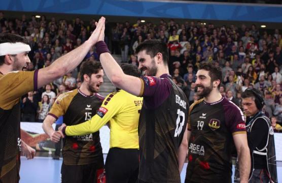 La joie du HBC Nantes lors du match face aux biélorusses de Brest après leur victoire.