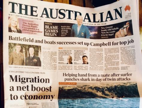 The Australian 17 aprile 2018, Archivio personale