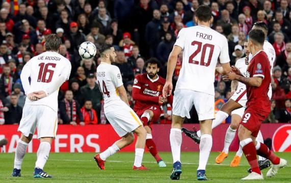 Salah metió el primer gol un tiro a la escuadra perfecto. Trome.com.