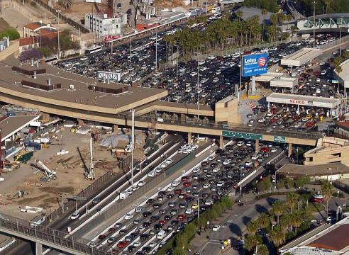 Aerial view of the border crossing between San Diego and Tijuana (Image credit – Philkon, Wikimedia Commons)