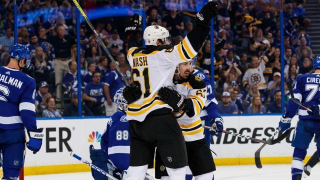 Rick Nash tuvo dos goles en la gran victoria de Boston en el juego 1 vs el Lightning. NHL.com.