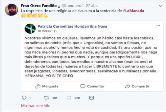 Comentario de monjas de clausura sobre el juicio de La Manada