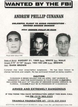 Cartel de búsqueda de Andrew Cunanan en 1997 (FBI)