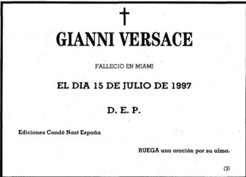 Esquela de Gianni Versace publicada en 1997