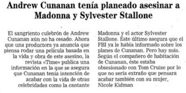 Reseña del aviso del FBI a Sylvester Stallone poco después del asesinato del diseñador