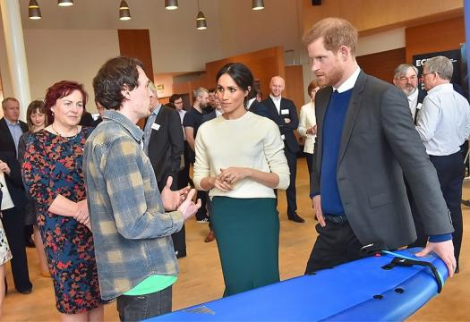 Prince Harry and Ms. Markle visit Catalyst Inc in North Ireland in March 2018 (Image credit – Northern Ireland Office, Wikimedia Commons)