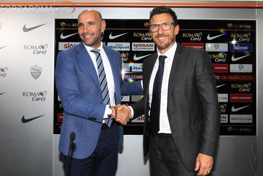 Monchi assieme a Di Francesco nella conferenza di presentazione dell'ex Sassuolo come allenatore giallorosso.