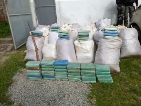 Operação conjunta das polícias Civil e Militar resultou na apreensão de mais de 1.500kg de maconha em Santa Luzia (Foto:Divulgação/Polícia Civil)