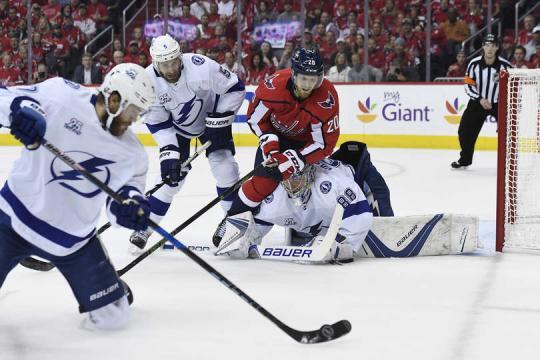 El portero Andrei Vasilevskiy, por fin tuvo un partido aceptable en la final del Este. NHL.com.
