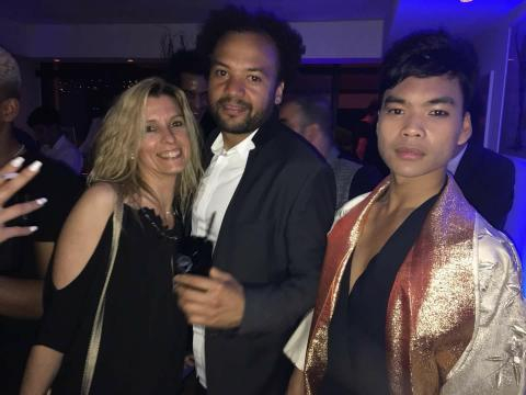 Avec Fabrice Eboué lors d'une soirée privée
