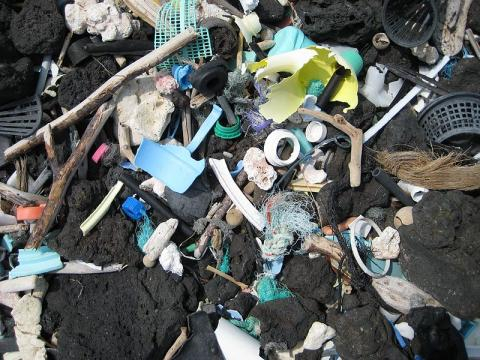 Virtually indestructible plastic pieces fouling a black rock beach on the island of Hawaii. - [Image credit - Eric Johnson / Wikimedia Commons]