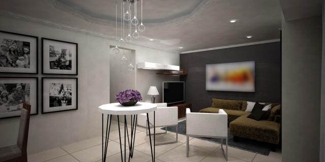 Sala Comedor: Fotografías familiares en blanco y negro en pared con una tonalidad más clara que el resto del espacio...