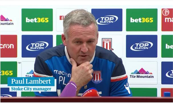 Former Stoke City manager Paul Lambert during a past press conference. Photo courtesy: Guardian Football/YouTube screencap