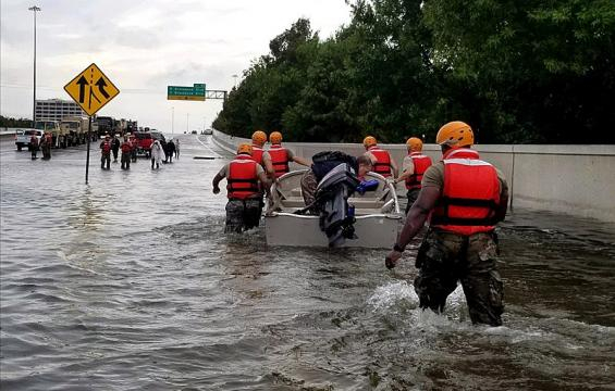 Soldiers with the Texas Army National Guard after Hurricane Harvey flooded Houston (Image credit – Zachary West, Wikimedia Commons)