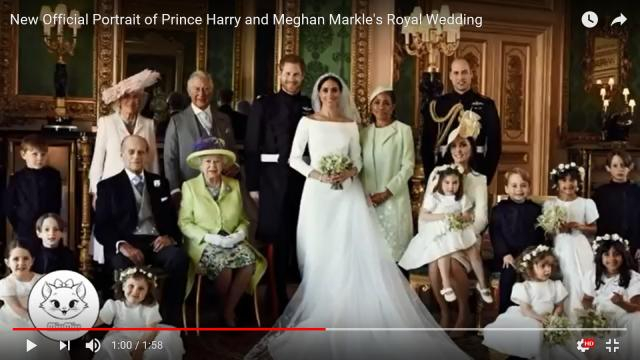 There is a sweet treat and a simple reason behind the smiles in Harry and Meghan's royal wedding portrait. - [MIU MIU / YouTube screencap]