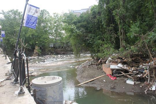 Aftermath of the July 30, 2016 flood in Ellicott City (Image credit – Preservation Maryland, Wikimedia Commons)