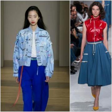 Calvin Klein abbina la gonna jeans al rosso, il blu abbinato con la fantasia a fiori.