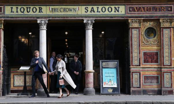 Prince Harry and Ms. Markle visit Belfast's Crown Liquor Saloon [Image source: Northern Ireland Office - Wikimedia Commons]