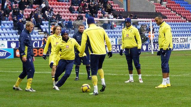 Tottenham warmup, Wigan Athletic v Tottenham Hotspur. - [Image credit – Dan Farrimond / Wikimedia Commons]