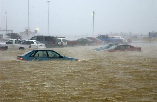 Coastal flooding from Hurricane Isabel at Naval Station Norfolk, Virginia (Image courtesy - Michael Pendergrass, Wikimedia Commons)