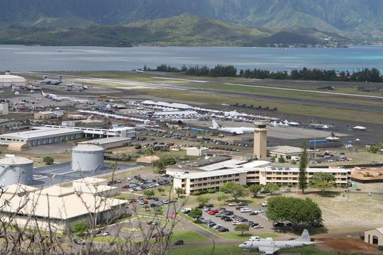 An aerial view of Marine Corps Base Hawaii at Kaneohe Bay. - [Jody Lee Smith / Wikimedia Commons]