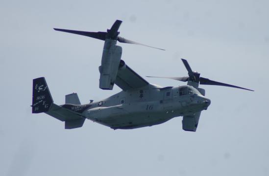 El inconfundible Osprey de EEUU en vuelo