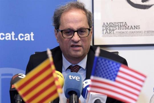 Desacuerdo entre Torra y Morenés en un acto en EE.UU. por discursos de presos políticos