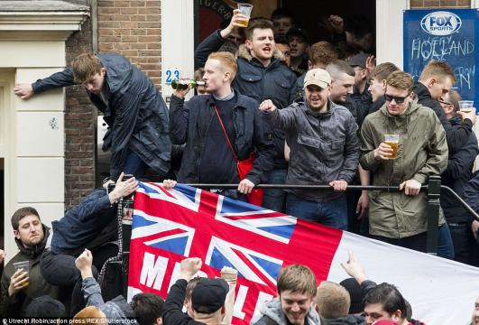 England football fans arrested in Amsterdam - (Image via England Football/Twitter)