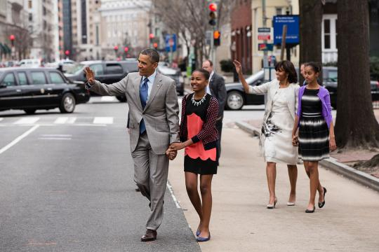 Barack Obama with Michelle and their daughters Sasha and Malia (Image courtesy – Pete Souza, Wikimedia Commons)