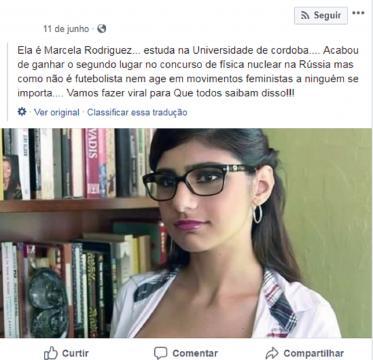Imagem retirada de uma publicação no Facebook do boato Marcela Pereira