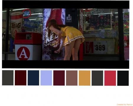 Cena do filme Death Proof exibindo as tonalidades da paletas de cores