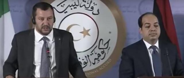 Il ministro Matteo Salvini con il vicepremier libico Ahmed Maitig, nel corso di un recente incontro
