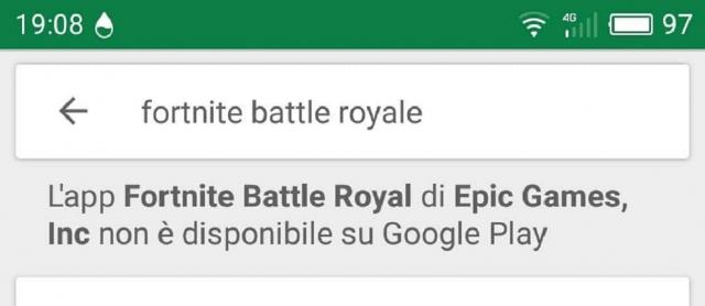 Fortnite Battle Royale non disponibile su Google Play.