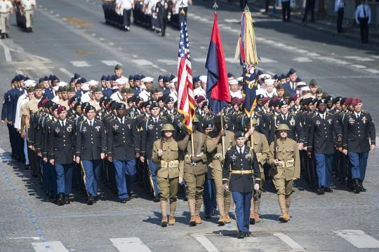 American soldiers, sailors, airmen and Marines at the Bastille Day military parade 2017. [Image courtesy - Dominique Pineiro, Wikimedia Commons]