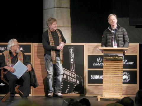 Robert Redford with Dr. David Suzuki, and James Redford at Sundance 2017, Park City UT. [Image courtesy – PunkToad, Wikimedia Commons]