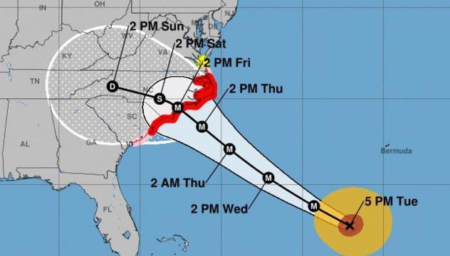 La traiettoria prevista dell'uragano Florence