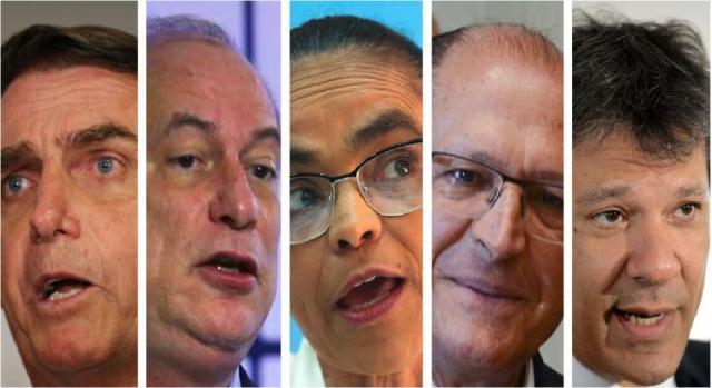 Bolsonaro, Ciro, Marina, Alckmin e Haddad - EBC-Divulgação-ND