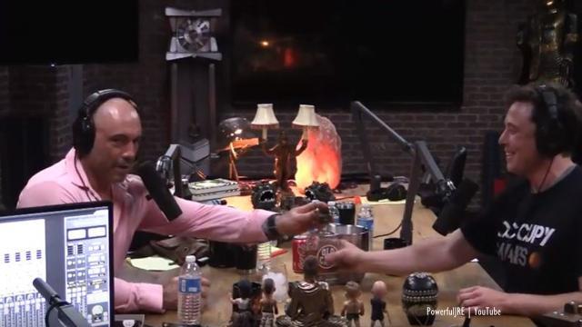 Joe Rogan and Elon Musk share a whiskey in deep conversation - Image credit - PowerfulJRE | YouTUbe