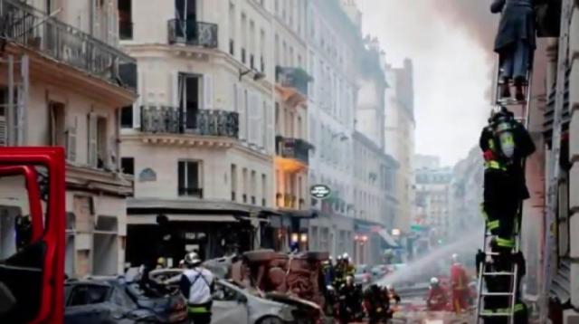 Paris 'gas explosion' causes casualties in city centre. [Image source/Specific YouTube video]